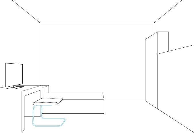 Perspektif satu titik menggambar kaki kursi komputer