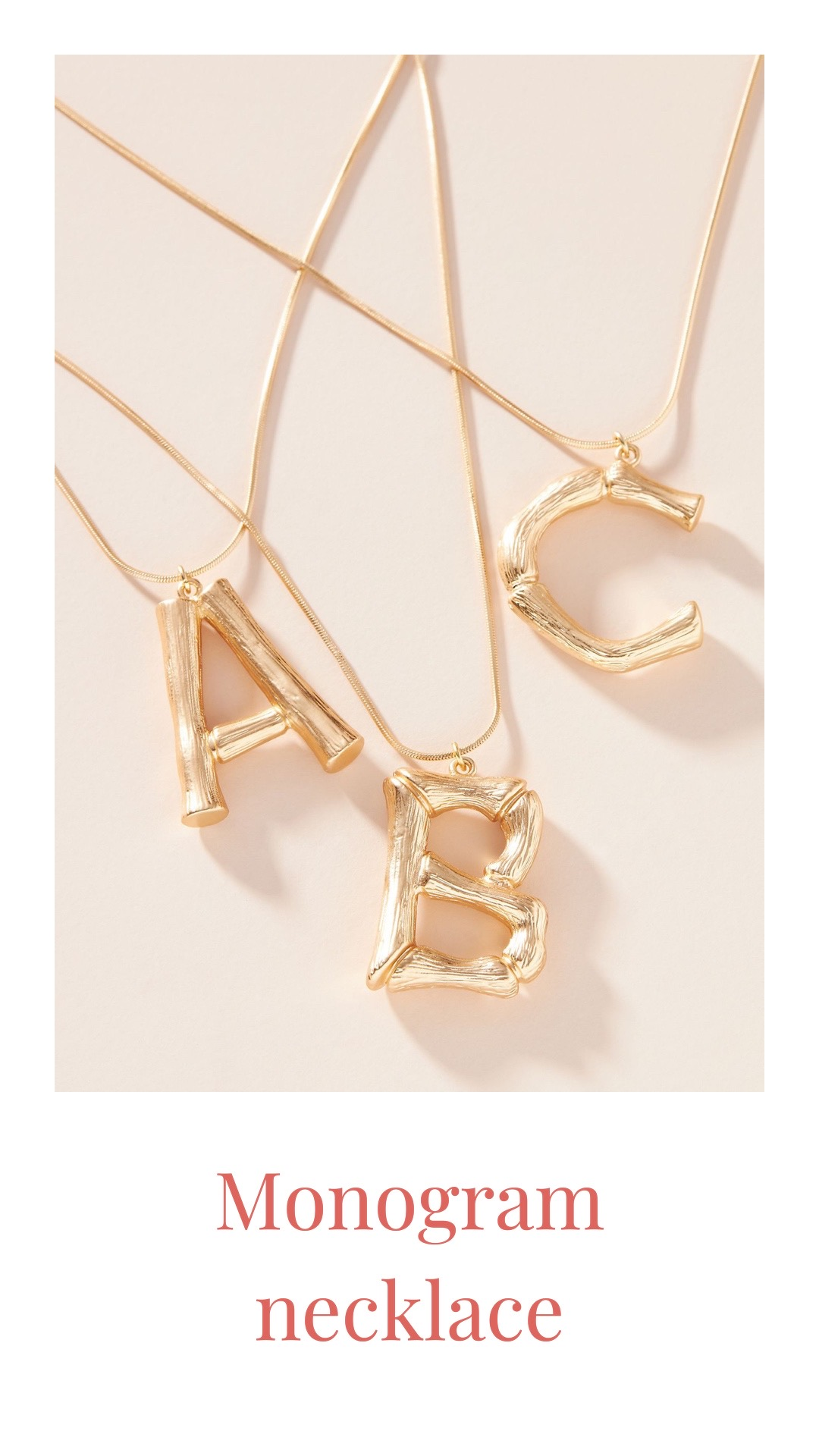 Anthropologie bamboo monogram necklace