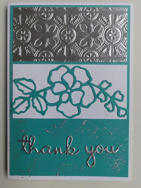Stampin' Up Bermuda Bay Silver Rose Tin Tile embossed Card