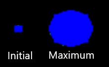Comparison image of the blast sizes in Missile Command 1980, between initial and final size.