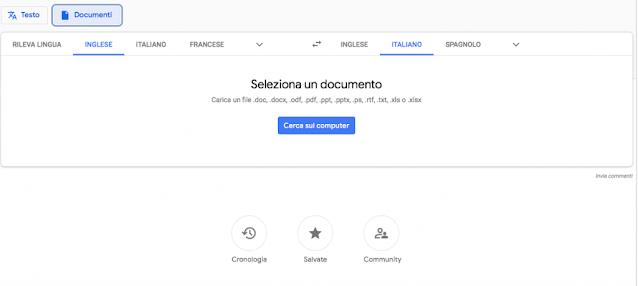 Schermata Google Traslate