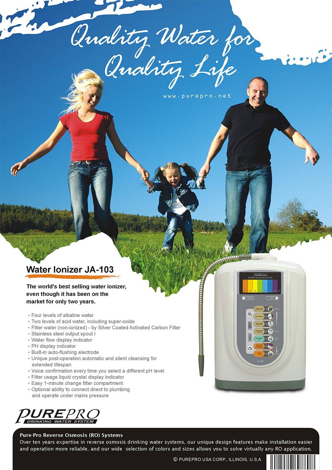 美國 PurePro® 鹼性離子整水器 JA-103 ★ 喝好水 ! 實現健康長壽 ! 最暢銷的鹼性離子整水器