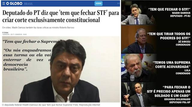 HIPOCRISIA: Deputado do PT ameaçou fechar o STF e os ministros ficaram caladinhos na vez do filho do Bolsonaro a hipocrisia aflorou