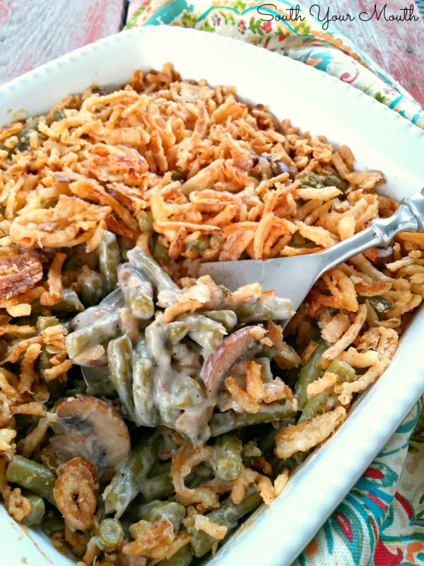 Supreme Green Bean Casserole - A classic green bean casserole recipe made extra special with buttery sauteed mushrooms!