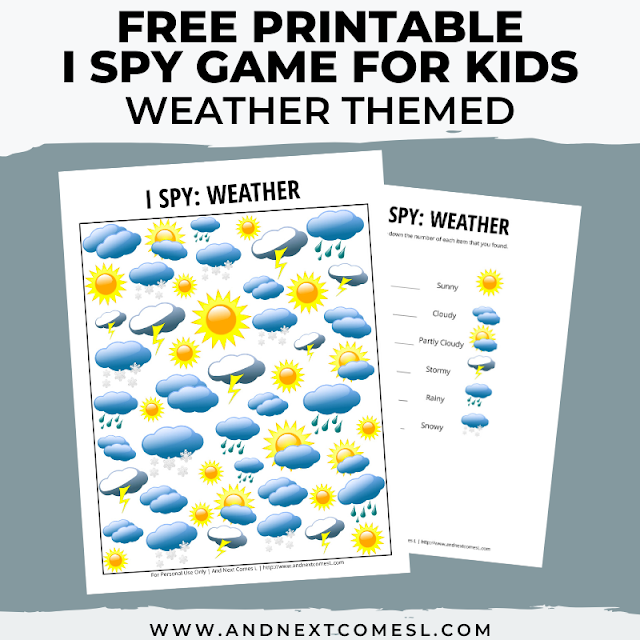 Free I spy game printable for kids: weather themed