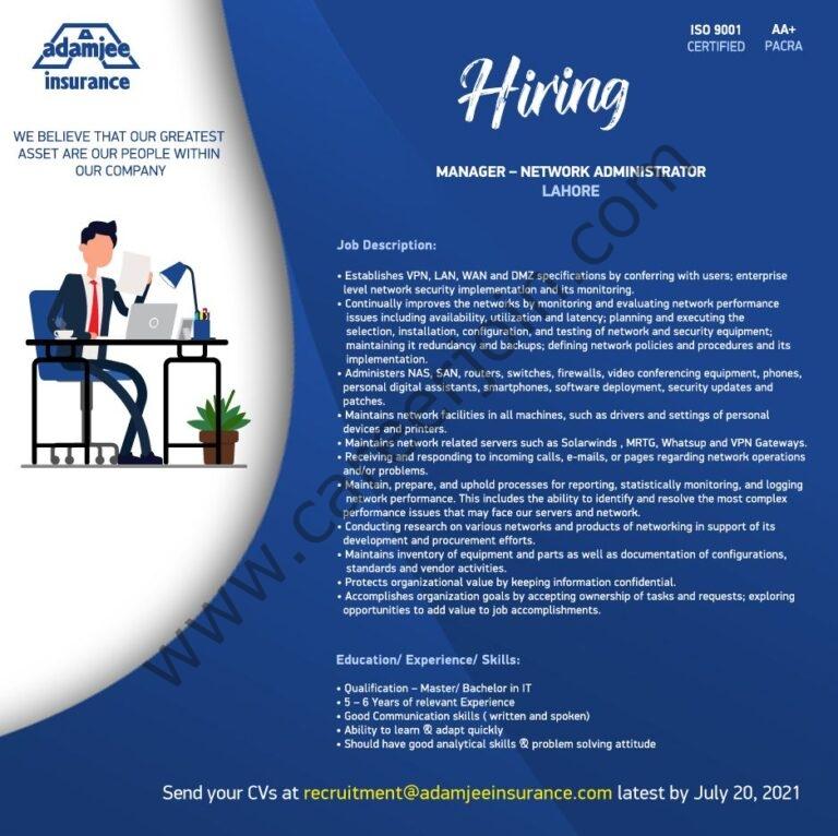 recruitment@adamjeeinsurance.com - Adamjee Insurance Company Ltd Jobs 2021 in Pakistan