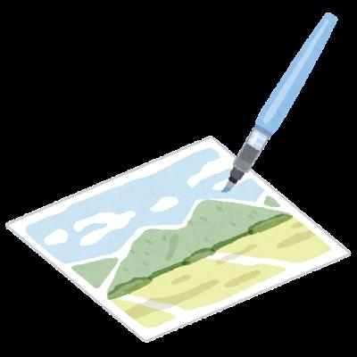 水彩画のイラスト(水筆)