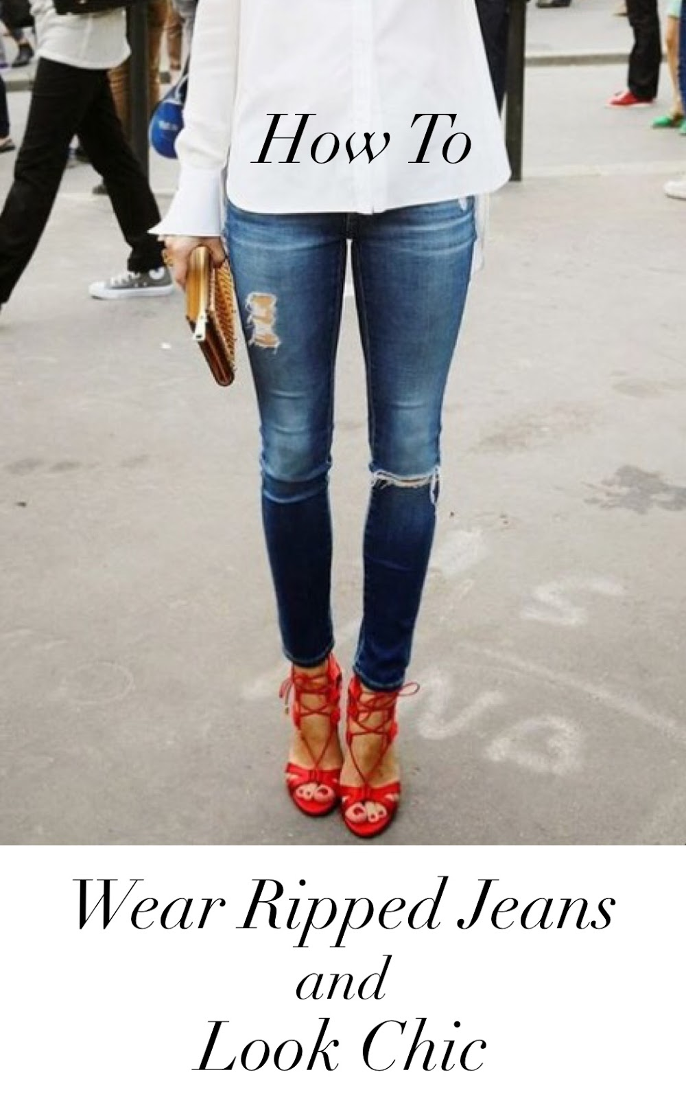 Woman wearing white shirt with ripped jeans and red heels