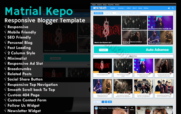 Matrial Kepo  Responsive Blogger Template 2019 - Responsive Blogger Template