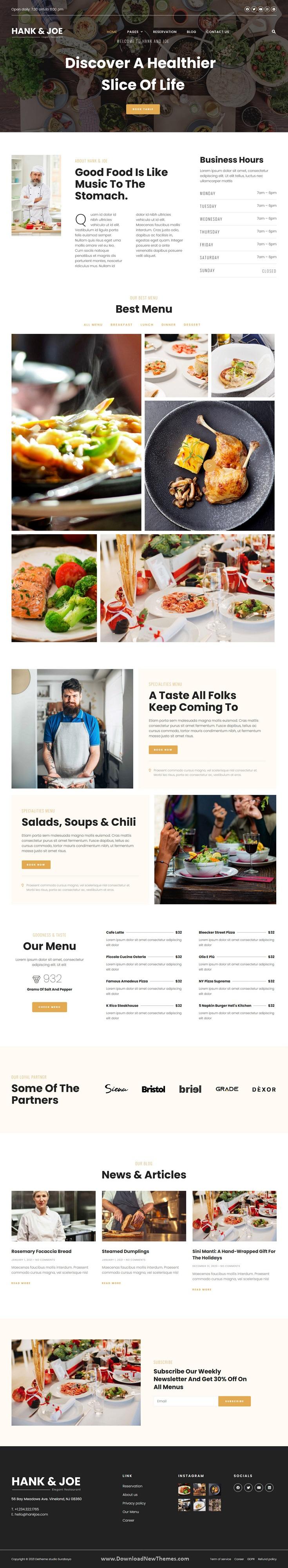 Elegant Restaurant Elementor Template Kit