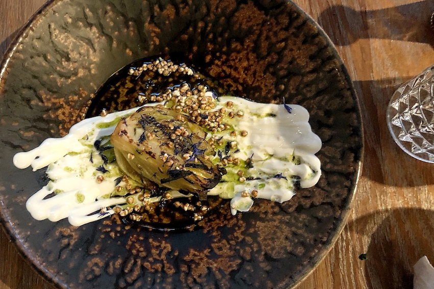 Eska, Grilled fennel, sour cream, basil, buckwheat