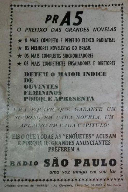 Propaganda dos anos 50 anunciando as radionovelas da Rádio São Paulo