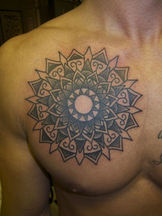 Kaleidoscope Chest Tattoo for men