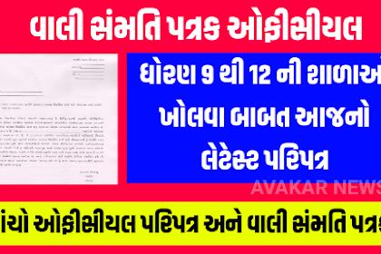 STD 9 TO 12 School Open Related Official Paripatra & Vali Samati Patrak 2020
