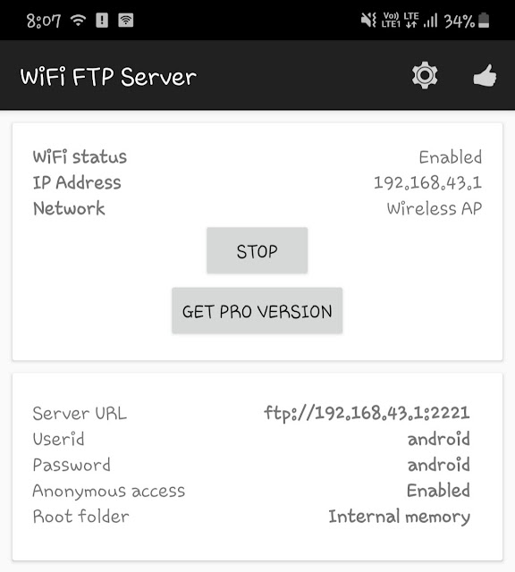 Setup FTP server on Android phone