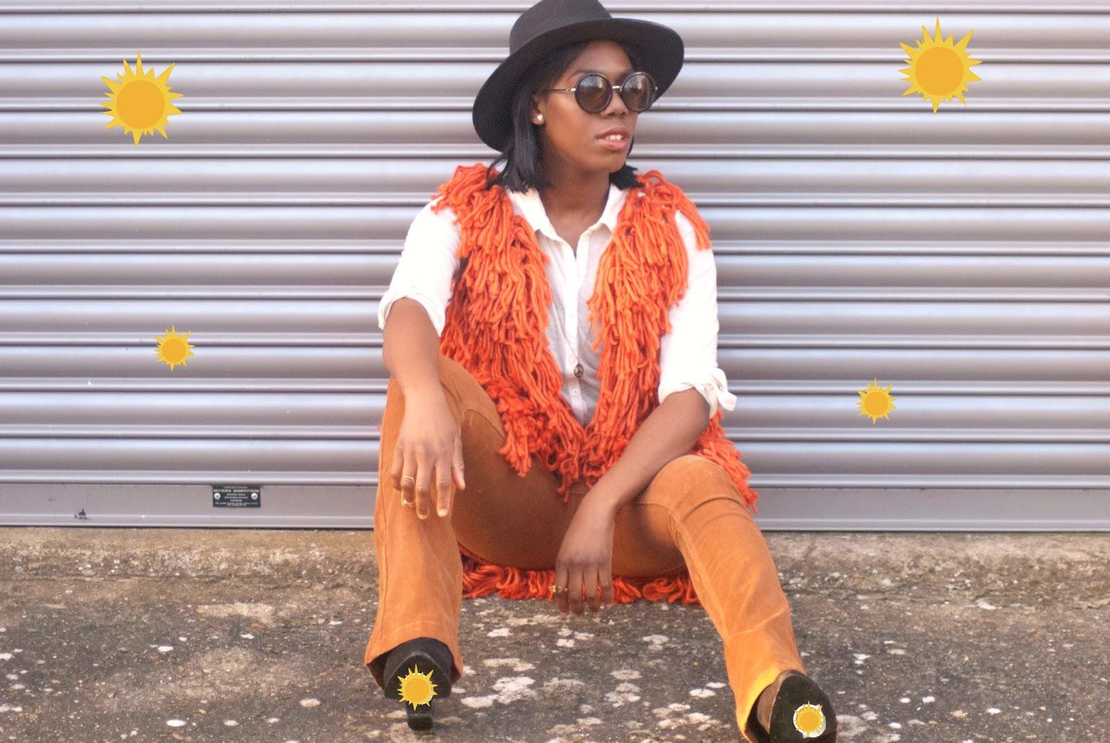Asos rust shaggy gilet, boohoo fedora hat, boohoo glares, 70's style, 100 ways to 30