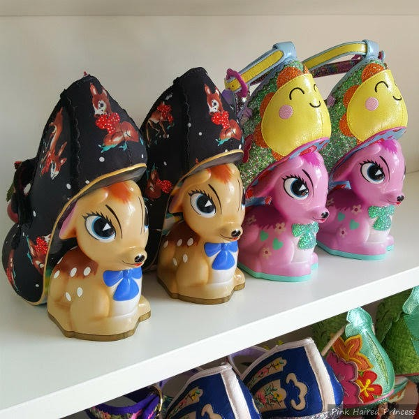 row of old and new fawn heels on shelf