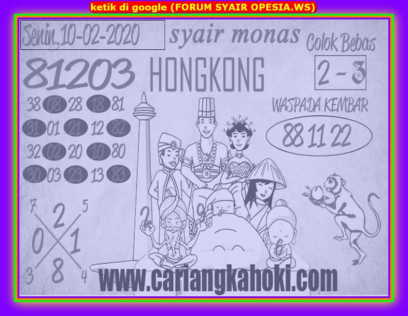 Kode syair Hongkong Senin 10 Februari 2020 167
