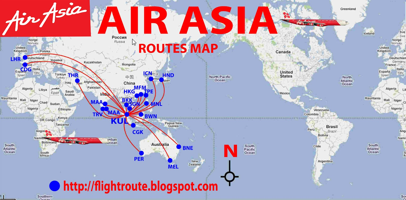 Airlines And Airports Information Airasia Com Routes Map