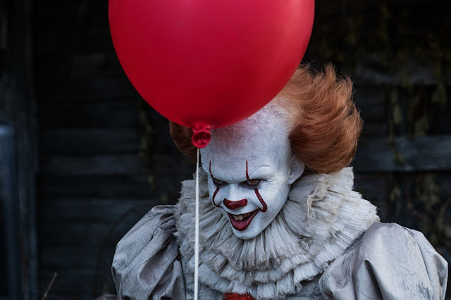 Image of Bill Skarsgard as Pennywise from the movie It, based on the book by Stephen King,