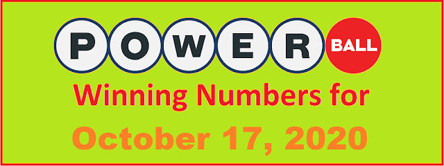 PowerBall Winning Numbers for Saturday, October 17, 2020
