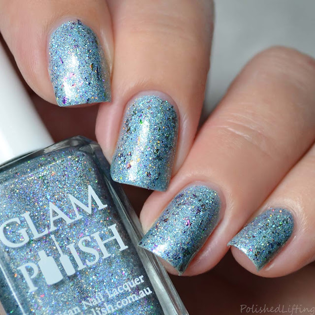 blue holo polish rainbow flakes