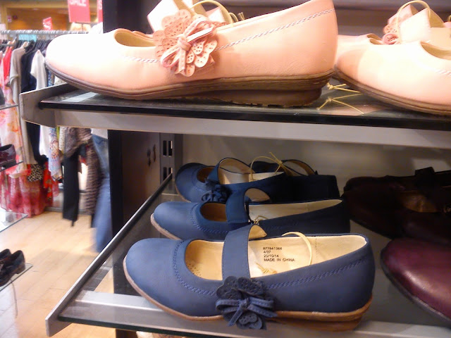 navy flower motif flat mary janes
