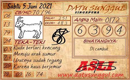Prediksi Datu Sunggul SGP Sabtu 05 Juni 2021
