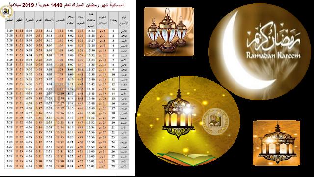 إمساكية شهر رمضان ومواعيد الإفطار والسحور والإمساك وساعات الصيام