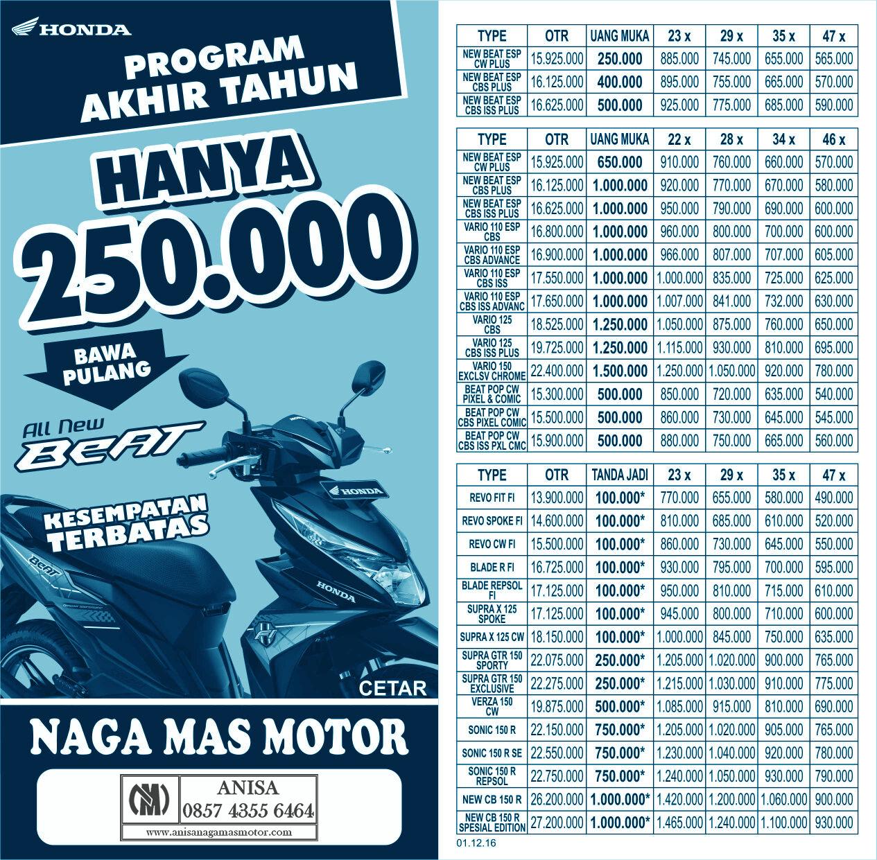 Anisa Counter Sales Dealer Nagamas Motor Klaten New Vario 110 Esp Cbs Iss Grande White Kab Semarang Promo Desember Akhir Tahun 2016