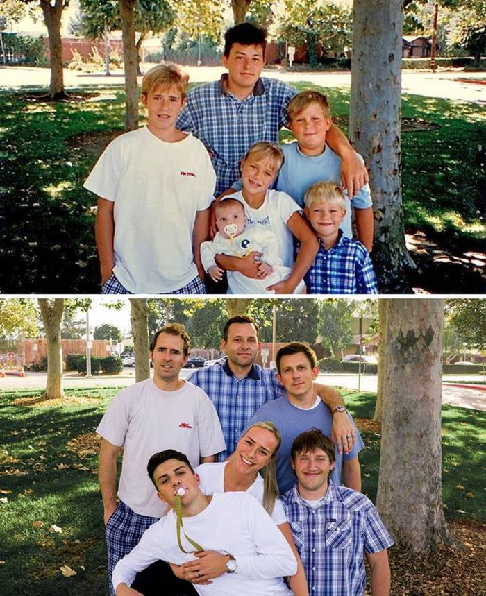 """22 years later. He put in a lot of effort to recreate the photo. """