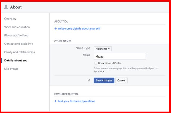 how to change facebook account profile name