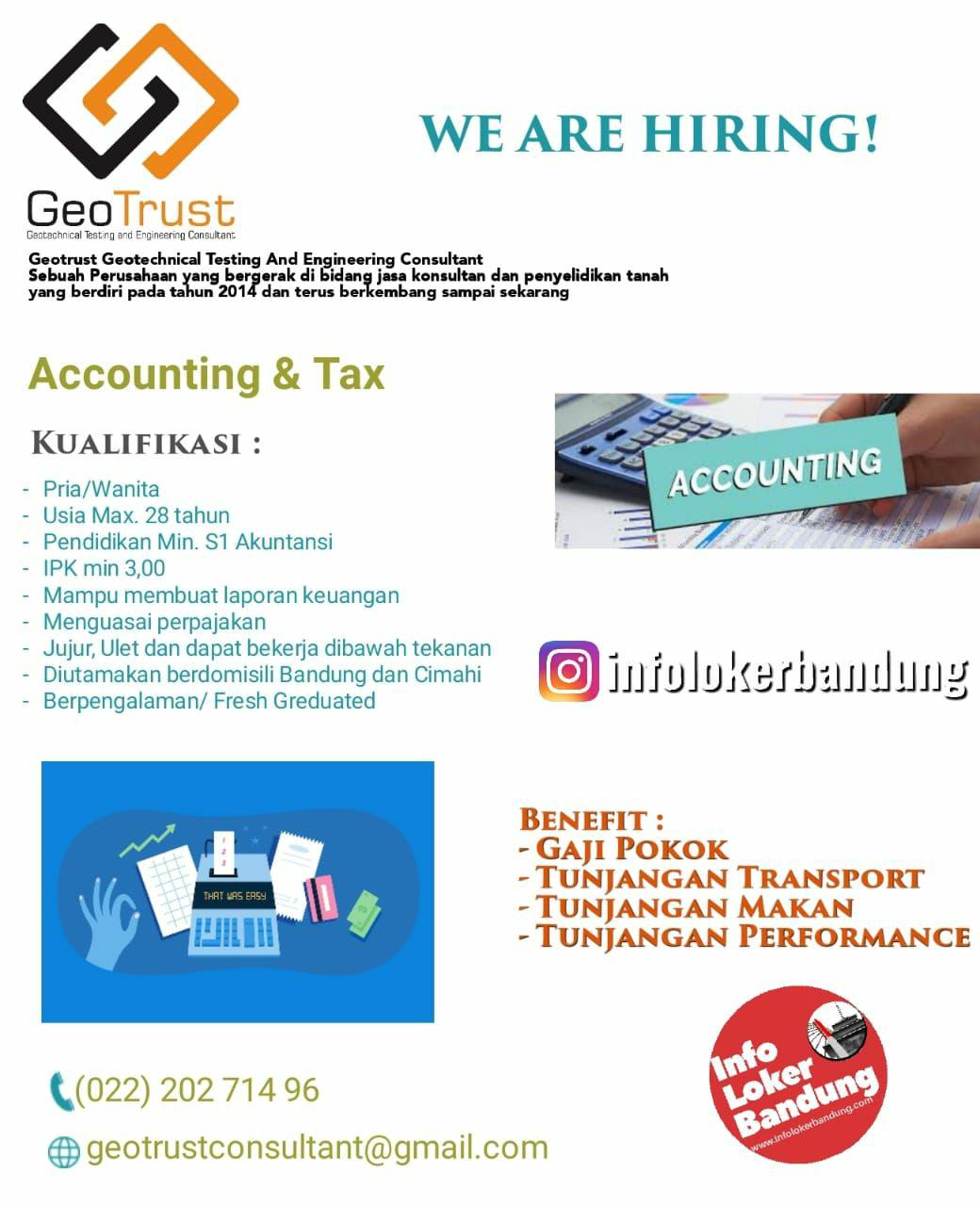 Lowongan Kerja Accounting & Tax Geotrust ( Geotachnical Testing and Engineering Consultant) Bandung September 2019