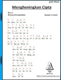 Partitur Lagu Mengheningkan Cipta - T. Prawit