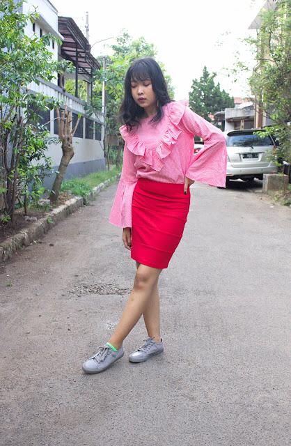 red tartan top