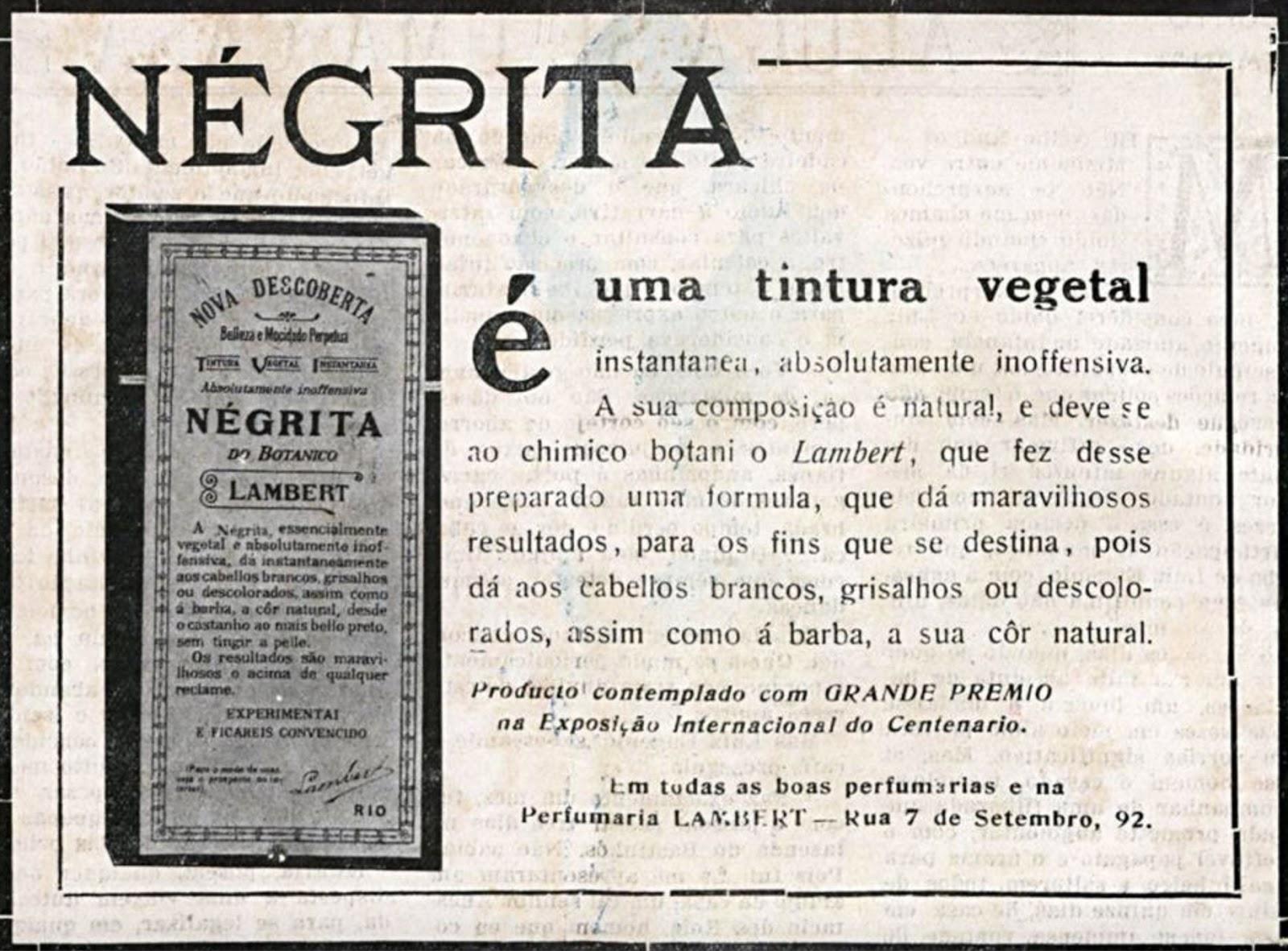 Propaganda de 1924 apresentando a Tintura Negrita para cabelos brancos e grisalhos