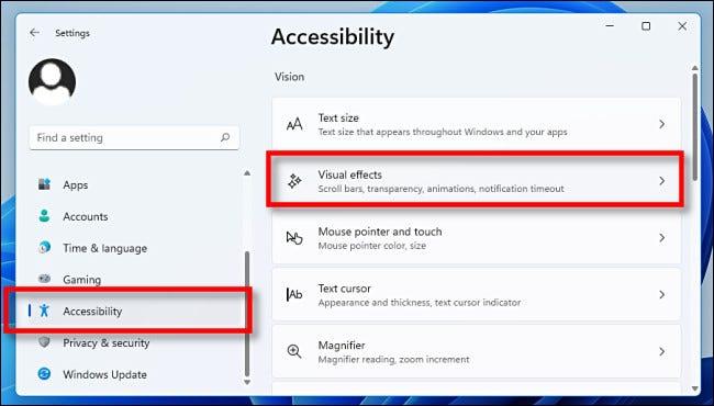 """في الإعدادات ، انقر على """"إمكانية الوصول"""" ، ثم """"التأثيرات المرئية""""."""