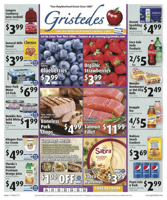CHECK OUT ROOSEVELT ISLAND GRISTEDES Products, SALES & SPECIALS For July 20 - July 26