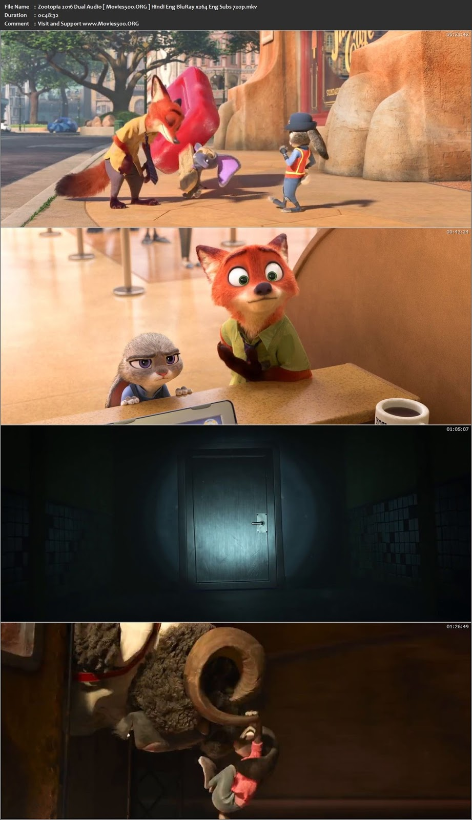 Zootopia 2016 Hindi Dubbed 300MB BluRay 480p ESubs at movies500.site