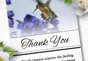 hummingbird floral vertical thank you card