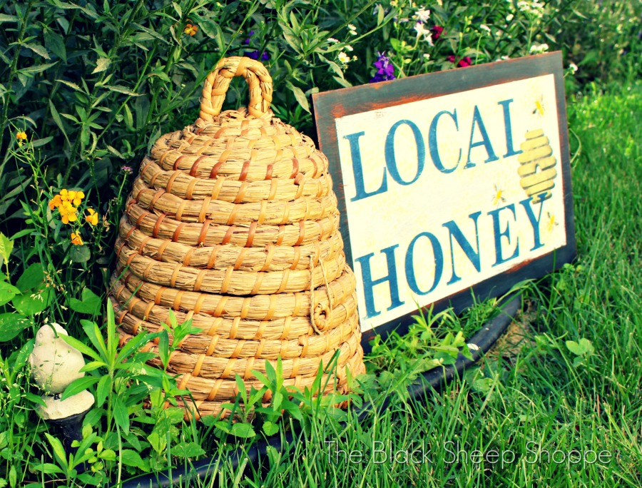 Hand stenciled Local Honey sign.