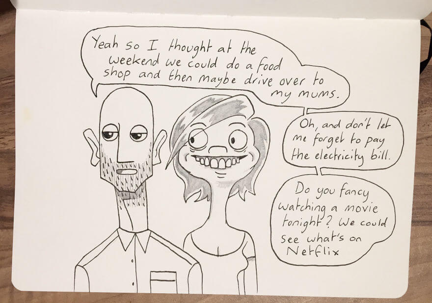 Guy Has Been Drawing A Comic Every Day For His Partner For Five Whole Years - Kellie Sometimes Does This Weird Thing Where She Bares Her Teeth And Gums