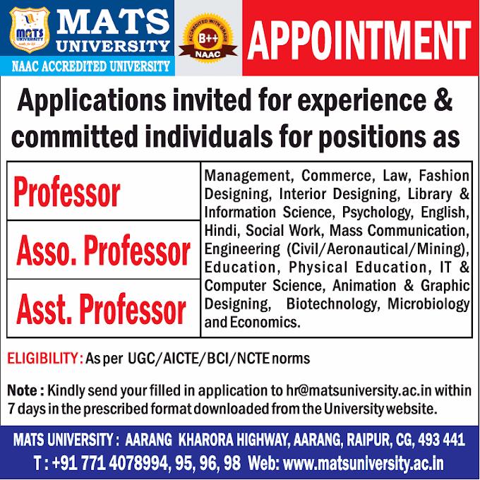 MATS Raipur Biotech/Microbiology Faculty Jobs