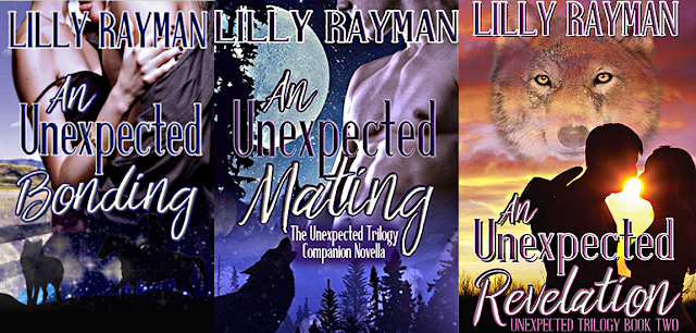 The Unexpected Trilogy by Lilly Raymon on Amazon; cover images of An Unexpected Bonding, An Unexpected Mating, and An Unexpected Revelation