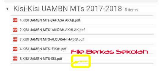 Kisi-Kisi UAMBN MTs Tahun 2018 atau Tahun Pelajaran 2017/2018
