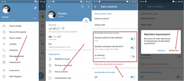 download automatico dei media su Telegram