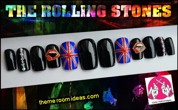 music themed nail design The Rolling Stones Band British Rock Union Jack false nails music themed nails
