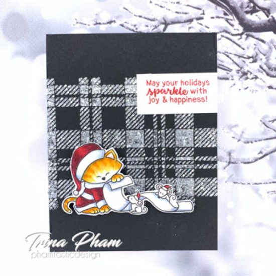May your holidays sparkle by Trina features Santa Paws Newton and Plaid stencil by Newton's Nook Designs; #newtonsnook