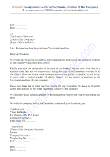 resignation letter of secretarial auditor of the company