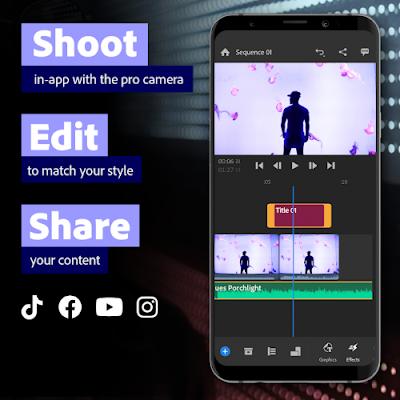 تطبيق مونتاج الفيديوهات بسهولة كبيرة عبر الهاتف مدفوع للاندرويد Adobe Premiere Rush PRO